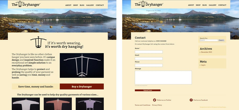 The website I designed for The Dryhanger (dryhanger.com) uses two templates – one for the home page (pictured left) and one for all the internal pages.