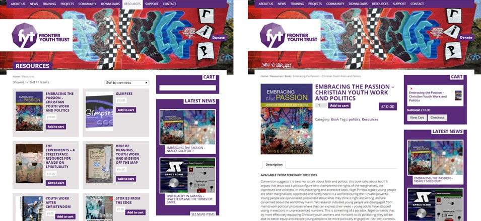 The FYT website (fyt.org.uk) I designed has various bits of extra functionality including a shop from which they sell books and other resources.